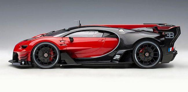 Autoart Bugatti Vision Gran Turismo Italian Red Black Carbon Diecastsociety Com